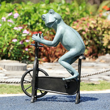 "Frog on Bicycle Garden Sculpture ""Workout"" 
