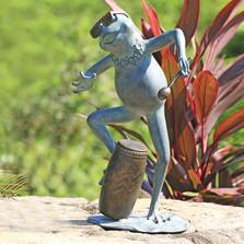 Frog Conga Drummer Garden Sculpture | 34877 | SPI Home