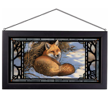 "Fox Stained Glass Art ""Restful Moment"" 