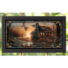 "Duck Stained Glass Art ""Golden Retreat"" 