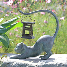 Stretching Cat LED Garden Lantern | 34881 | SPI Home