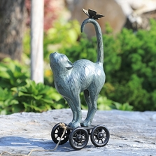 Contented Cat and Butterfly Pull-Along Garden Sculpture | 34895| SPI Home