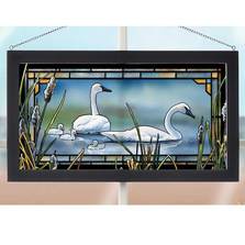 "Swans Stained Glass Art ""New Beginnings"" 