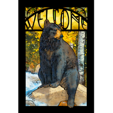 "Bear Stained Glass Art ""The Paw That Refreshes"" 
