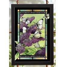 "Butterfly Stained Glass Art ""Purple Lilacs"" 