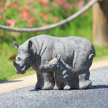 "Rhino and Baby Garden Sculpture ""Serengeti Serenity"" 