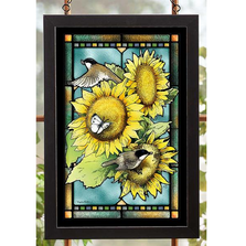 Chickadee and Sunflowers Stained Glass Art | 5386498409