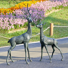 "Buck and Doe Deer Garden Sculpture Pair ""Woodland Watchers"" 