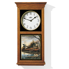 "Duck Oak Wood Regulator Wall Clock ""Backwoods Cabin"" 