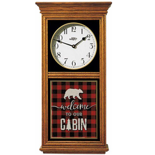 "Bear Oak Wood Regulator Wall Clock ""Welcome To Our Cabin"" 