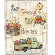 Butterfly and Flowers Poly Throw Blanket | SAFFLW