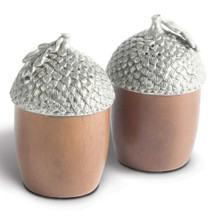 Wood Acorn Salt Pepper Shakers | Vagabond House | L116W