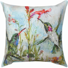 Two Hummingbirds Indoor Outdoor Throw Pillow | SL2HMB