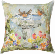 Bird Bath in Garden Indoor Outdoor Throw Pillow