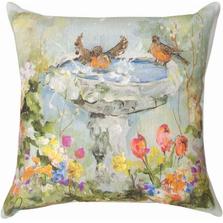 Bird Bath in Garden Indoor Outdoor Throw Pillow