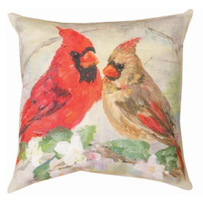 Cardinals In Flowers Indoor Outdoor Throw Pillow | SLCAFL