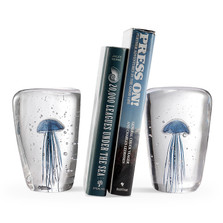 Blue Jellyfish Art Glass Wedge Glow-in-the-Dark Bookends | 58025 | SPI Home