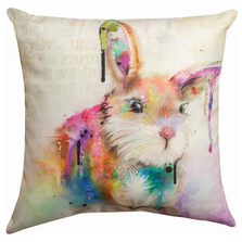 Bunny Color Splash Indoor Outdoor Throw Pillow | SLCBUN