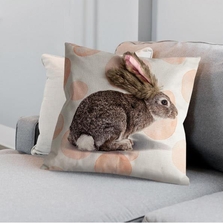"""Faux Fur Bunny Pillow """"Bunny Trail Francis & Florence"""" 