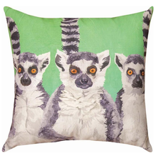 Lemur 3 Amigos Indoor Outdoor Throw Pillow | SL3LMU