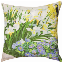 Bird and Iris Indoor Outdoor Throw Pillow | SLCNIR