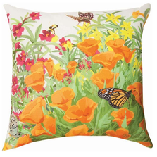 Butterfly and Monkey Flowers Indoor Outdoor Throw Pillow | SLCMKF