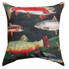 "Fish Indoor Outdoor Throw Pillow ""Gone Fishing"" | SLGFSH"