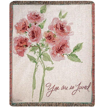 "Rose Tapestry Throw Blanket ""You Are So Loved"" 