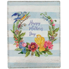 "Bird and Flower Tapestry Throw Blanket ""Happy Mother's Day"" 