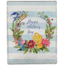 "Bird and Flower Tapestry Throw Blanket ""Happy Mother's Day"" | SAHMDB"