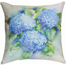 Hydrangea Sky Blue Indoor Outdoor Throw Pillow | SLSBHY