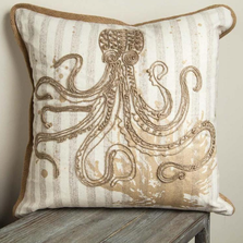 Octopus Embroidered Throw Pillow | IPNAOC