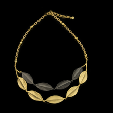"Cordyline Leaf 18"" Adjustable Double Layer Necklace 