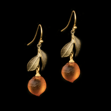 Orange Blossom Leaf Drop Dangle Wire Earrings | Nature Jewelry | Michael Michaud | 3324BZ
