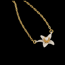Orange Blossom Flower Pendant Necklace | Nature Jewelry | Michael Michaud | 9239BZ