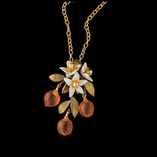 Orange Blossom Flower Drop Pendant Necklace | Nature Jewelry | Michael Michaud | 9238BZ