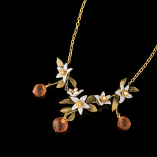 Orange Blossom Flower Drop Necklace | Nature Jewelry | Michael Michaud | 9236BZ
