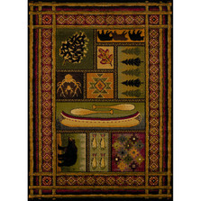 Bear, Fish, & Pinecone Lodge Canvas Multi Area Rug | United Weavers | 750-01443