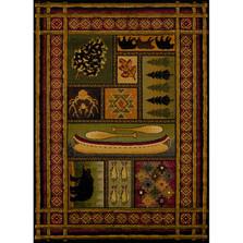 Bear, Fish, & Pinecone Lodge Canvas Multi Area Rug | United Weavers | 750-01443