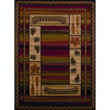 "Leaf & Paw Print Lodge Area Rug ""Canoe Sunset"" 