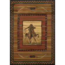 "Horse and Cowboy Area Rug ""Rawhide Lodge"" 