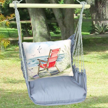 Red Beach Chair Hammock Chair Swing Gray | Magnolia Casual | GRSW905-SP