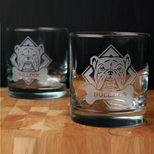 American Bulldog Rocks Glass Set of 4 | Rolf Glass | ROL362687