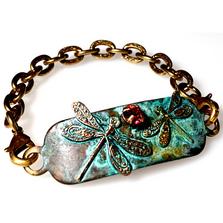 Dragonfly Brass Rockband Bracelet | Elaine Coyne Jewelry | ECGNAP31RBCR-5