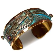 Dragonfly Verdigris Brass Cuff Bracelet | Elaine Coyne Jewelry | ECGDRP30121BCCR