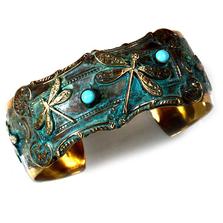 Dragonfly Victorian Verdigris Brass Cuff Bracelet | Elaine Coyne Jewelry | ECGDRP135BC