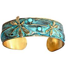 Dragonfly Feather Brass Cuff Bracelet | Elaine Coyne Jewelry | ECGNAP131BCTU