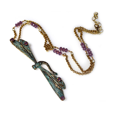 Patina Brass Dragonfly Pendant Chain Necklace  | Elaine Coyne Jewelry | DRP30121NCR