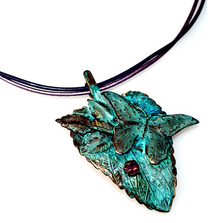 Butterfly on Leaf Pendant Rawhide Necklace | Elaine Coyne Jewelry | NAP2975PDCR