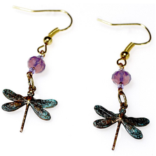 Dragonfly Dangle Verdigris Brass Wire Earrings | Elaine Coyne Jewelry | ECGDRP8ECR